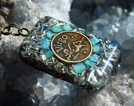 Virgo Orgonite® Pendant Pisces Zodiac Sign with raw Amazonite, Unisex Jewellery