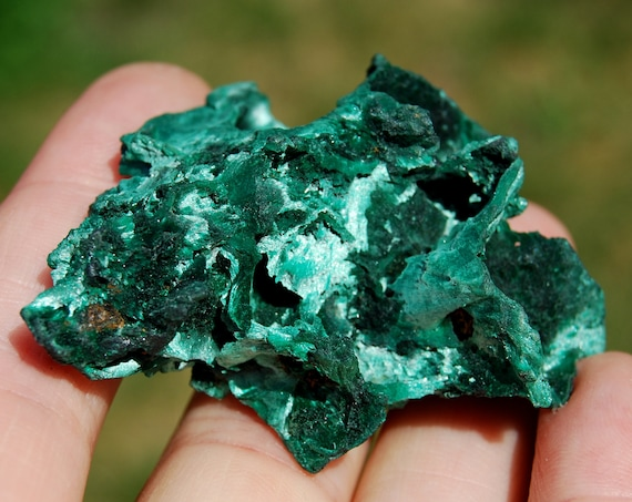 Velvety Malachite Cluster, Silk Silky, Fibrous Malachite from Congo Mineral Natural - 24 grams