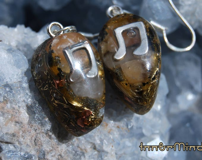 Music Note Symbol Orgonite® Orgone Earrings  with orange Calcite and clear Quartz, 925 Sterling Silver Hooks