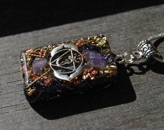 Sixth Chakra Orgonite® Third Eye Orgone Pendant Necklace Amethyst