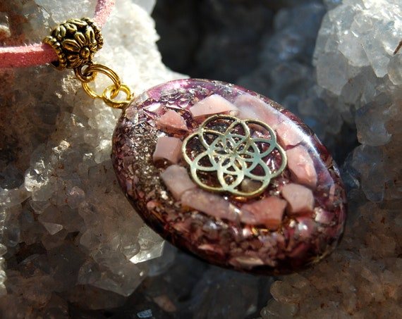 Seed of Life Orgonite® raw pink Opal Necklace  - FREE Shipping !