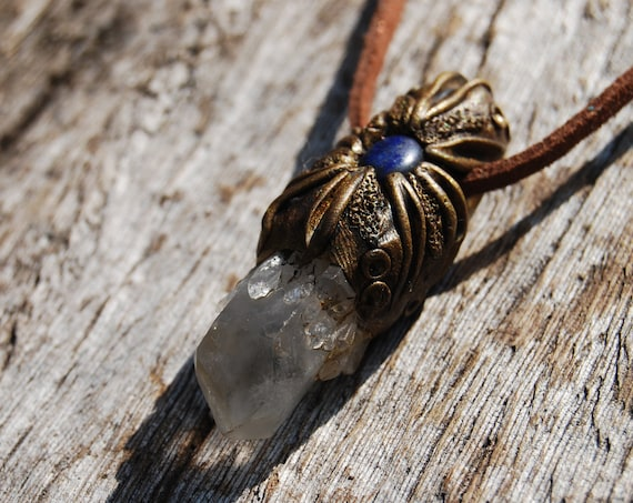 Terminated Quartz Pendant with Lapis Lazuli Necklace Handsculpted Clay Unisex