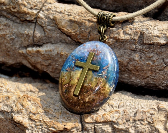 Orgonite® Orgone Pendant Necklace with Cross