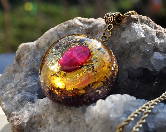 Ruby Orgonite® Pendant with 24k Gold