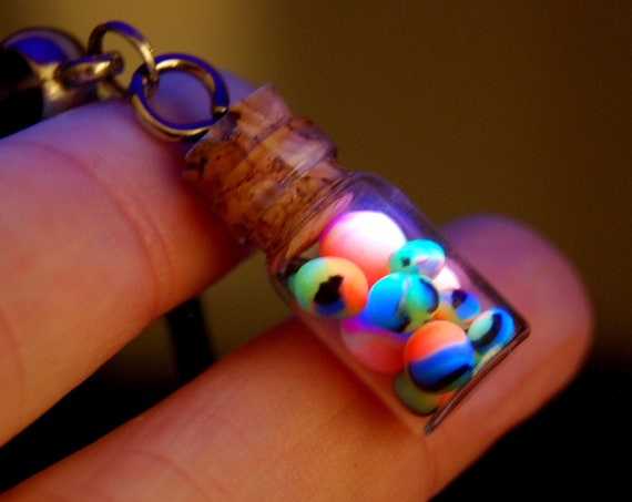 Cute miniature bottle vial jar Pendant with colorful Clay balls that glow in blacklight - FREE Shipping !
