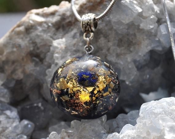 Raw Azurite Orgonite® Orgone Pendant Necklace Unisex with 24K Gold