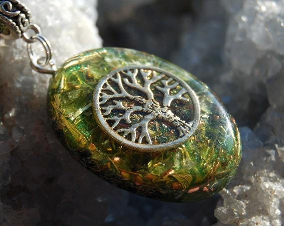 Tree of Life Orgonite® Orgone Pendant with Peridot, Unisex Necklace