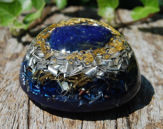 Lapis Lazuli MEDIUM Dome Orgonite® Orgone Generator® with 24K GOld