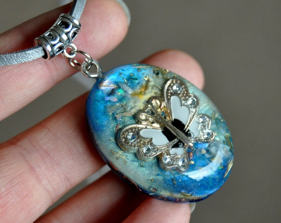 Welo Opal Orgonite® Pendant Necklace with Butterfly - FREE SHipping !