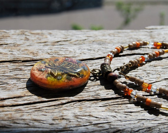 Rose Orgonite® Pendant Necklace on beaded necklace, Womens Jewellery