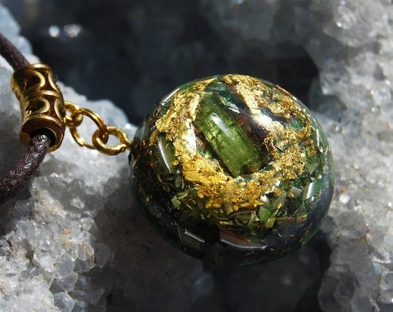 Green Tourmaline Orgonite® Small Pendant with 24K Gold, Heart Chakra