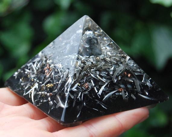 Snowflake Obsidian Orgonite® Giza Shape Small Pyramid,  FREE Shipping