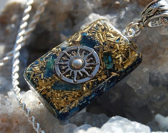 blue Tourmaline Orgonite® SUN Mens Pendant Necklace