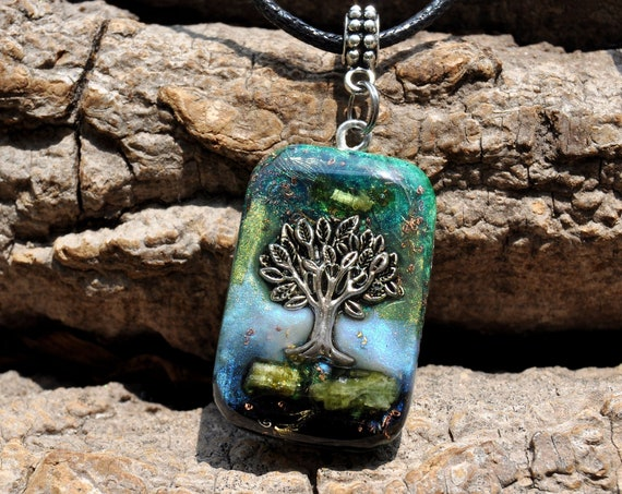 Green Tourmaline Orgonite® orgone Men's Pendant Pendant with TREE