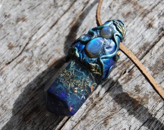 Orgonite® pendant Crystal Necklace Blue Flash Labradorite Pendant Unisex