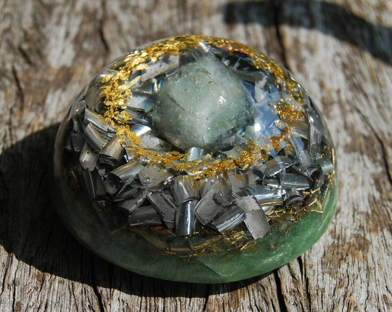 Prehnite Crystal LARGE Dome Orgonite®, Orgone Generator® with 24K Gold