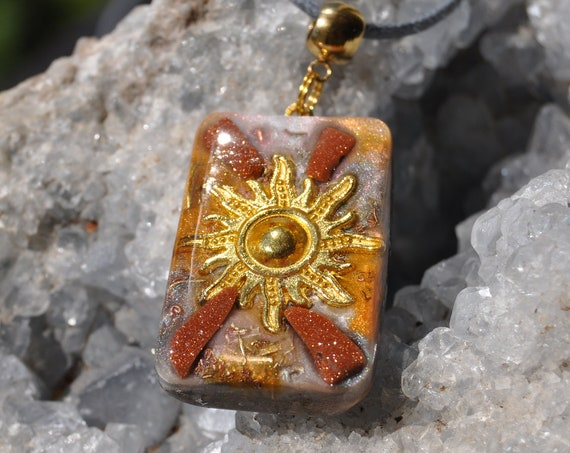 Sun Orgonite® Pendant Necklace with Goldstone, Abundance and Creativity, Unisex