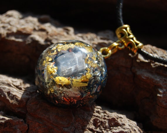 FREE Shipping ! Blue Calcite Orgonite® Pendant Necklace with 24K Gold, Small, Unisex Jewellery