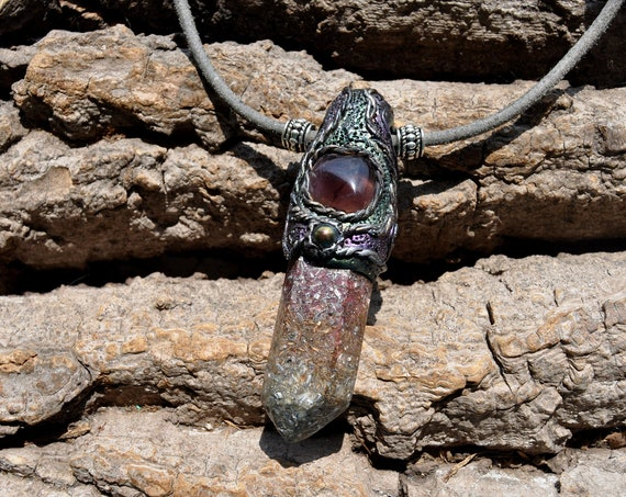 Amethyst Orgonite® Crystal Pendant Necklace, Clay