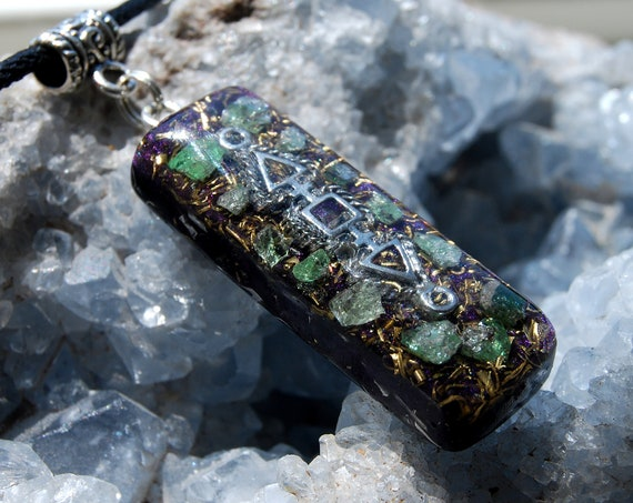 Tsavorite Orgonite® Pendant Orgone Necklace Natural Crystal Gemstone