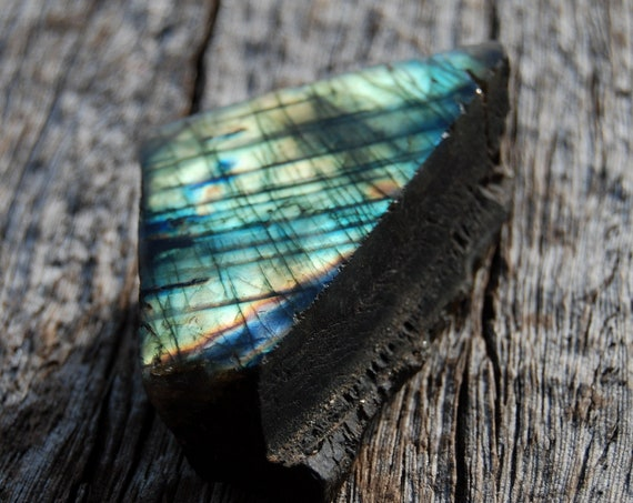 Flash Labradorite Slab, 87 Grams, 3.07 Ounces.  Polished on One Side, Madagascar