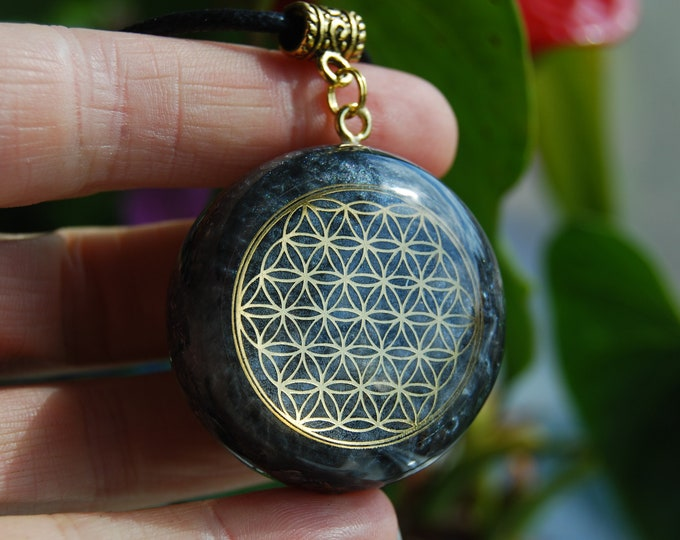 Galena Flower of Life Orgonite® orgone Pendant Necklace