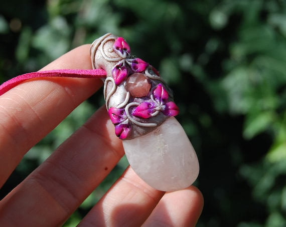 Woodland Rose Quartz Fairy Pendant Women Girls Necklace, Handsculpted UV Clay