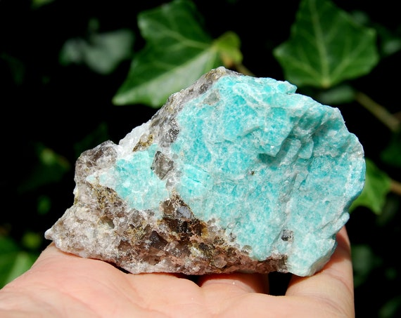 Raw Amazonite in Smokey Quartz 102 grams, Natural Untreated