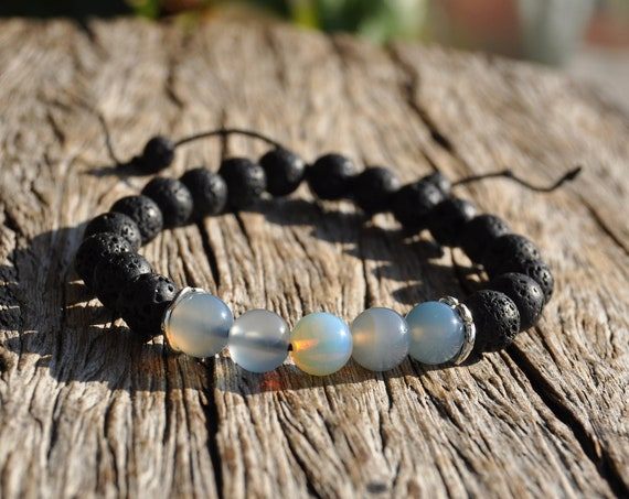 Beaded Lava and Opalite Beads Bracelet - Unisex FREE Delivery !