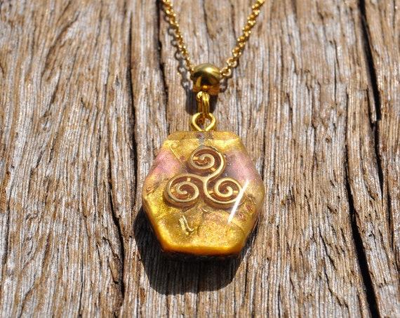 Triskelion Orgonite® Orgone Pendant Necklace Celtic Spiral - FREE Shipping