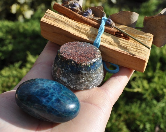 GIFT SET Blue Apatite and Palo Santo Bundle and Orgonite - FREE Delivery