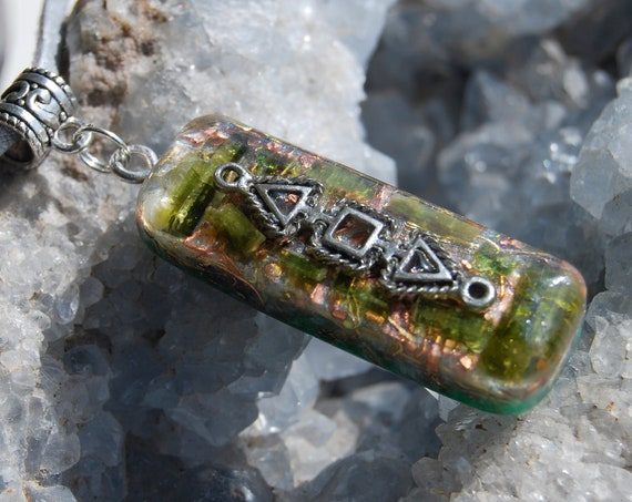 Raw Green Tourmaline Crystals Orgonite® Orgone Pendant Necklace