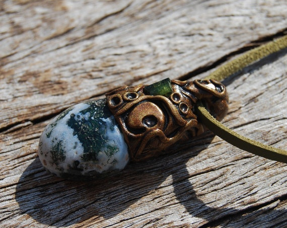 Moss Agate with green Tourmaline Necklace, Natural, Organic Woodland, Handsculpted Clay, Unisex