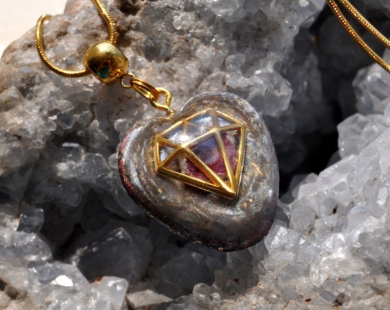 Natural Terminated Red Ruby Crystal Hexagonal Orgonite® Necklace, Heart Love Pendant, EMF Protection