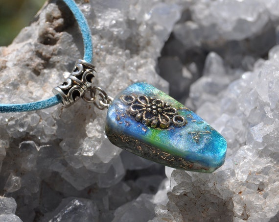 Orgonite® Pendant Necklace on adjustable faux suede cord, Free Delivery
