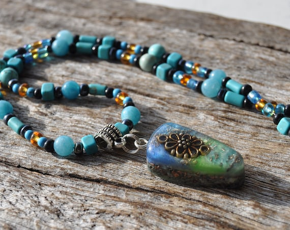 Orgonite® Pendant on beaded Necklace,  Free Delivery, Unisex