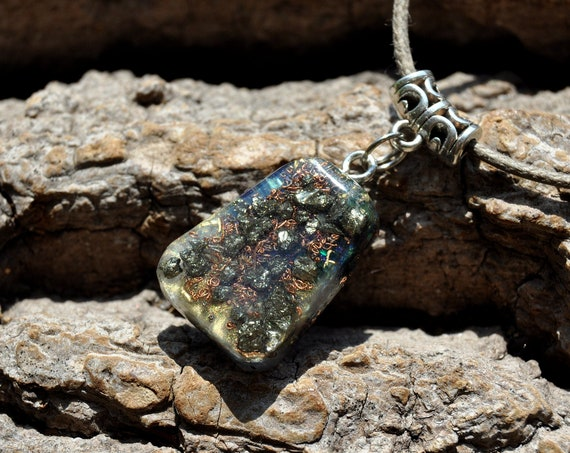 Pyrite Clusters Orgonite® Orgone Pendant, Trapezoid Necklace