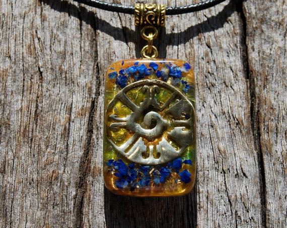 Raw Lapis Lazuli, Hunab Ku Orgonite® Pendant Necklace,  Unisex - FREE Shipping !