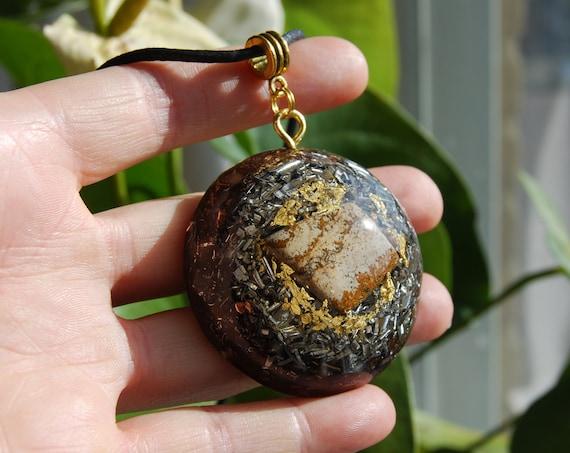 Picture Jasper Large Orgonite® Orgone Pendant 24K leaf Gold