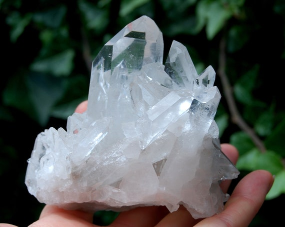 A Grade clear Crystal Cluster from Brazil, natural terminated Crystals -  414 grams - 14.60 ounces