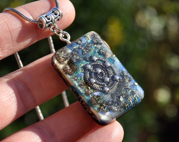 Spiral Galaxy Orgonite® Pendant with raw Pyrite Clusters Necklace