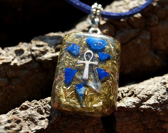 Ankh Orgonite® Pendant Necklace with raw Lapis Lazuli Jewellery, Unisex