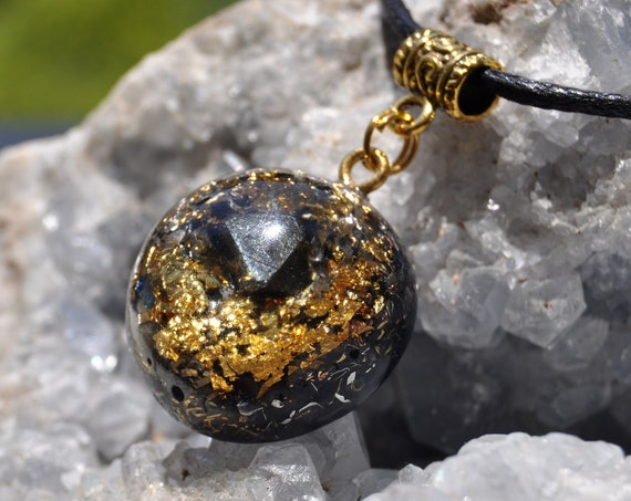 MAGNETITE Crystal Orgonite® Orgone Necklace, Pendant with 24K Gold-  UNISEX