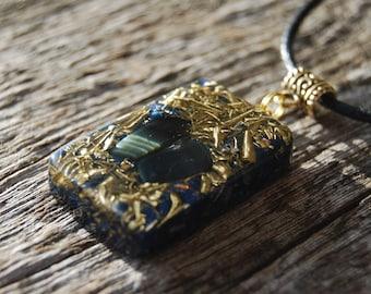 Blue Tiger Eye Orgonite® Pendant Necklace Unique