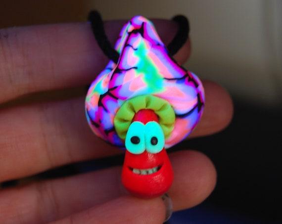 Blacklight Mushroom Pendant Necklace, Handsculpted Clay - FREE Shipping !