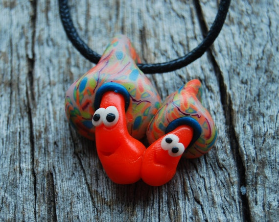 Cute Mushrooms Necklace, UV Active Blacklight, FLuorescent Clay Mushroom Pendant, Unisex - FREE Shipping !