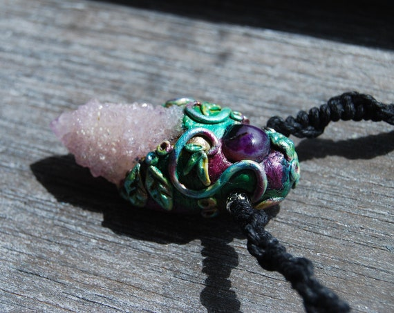 Amethyst Spirit Quartz Fairy Cluster Clay Necklace on HEMP Cord Fantasy Enchanted Magic