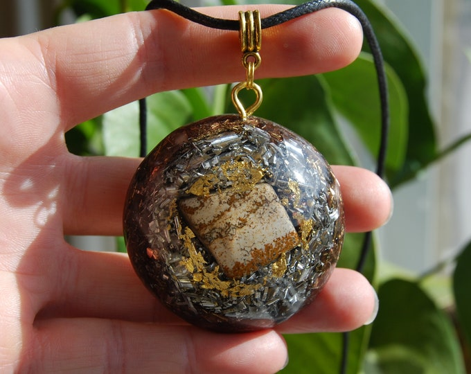 Picture Jasper Large Orgonite® Orgone Pendant 24K leaf Gold