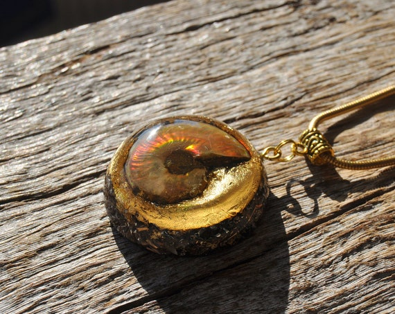 RED FIRE Opalized Ammonite Orgonite® Necklace - Unisex