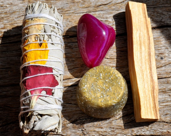 KIT with Pink Agate + Rose Petals White Sage + Orgonite Towerbuster  + Palo Santo - Healing Love Cleansing Crystal Smudge Incense Kit